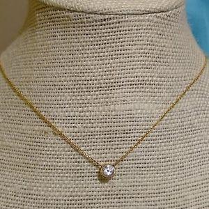 Jewelry - 14K Bezel Set Simulated Diamond Solitaire Pendant